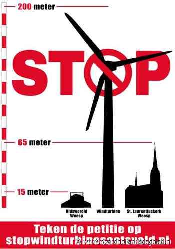 Inwoners van Weesp en Nigtevecht tegen plaatsing van mega-windmolens in Aetsveldsepolder; eerste daad van verzet tegen 'stenen reuzen': petitie op internet - Noordhollands Dagblad