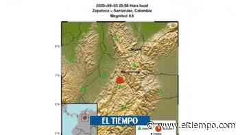 Se registra temblor de magnitud 4,6 en Zapatoca, Santander - El Tiempo