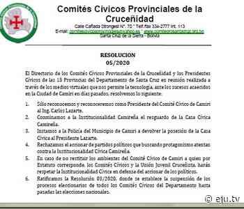 Comités Cívicos Provinciales respaldan a Carlos Lazarte, tras vandalismo en Camiri - eju.tv