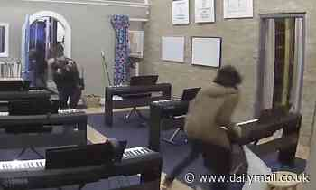 Horrifying moment teenage music school student is shot by cop chasing robber