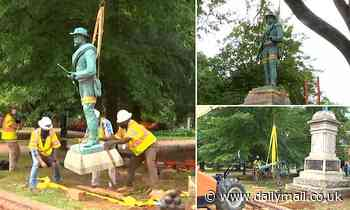 Statue of a Confederate soldier is taken down near site of violent 2017 Charlottesville rally