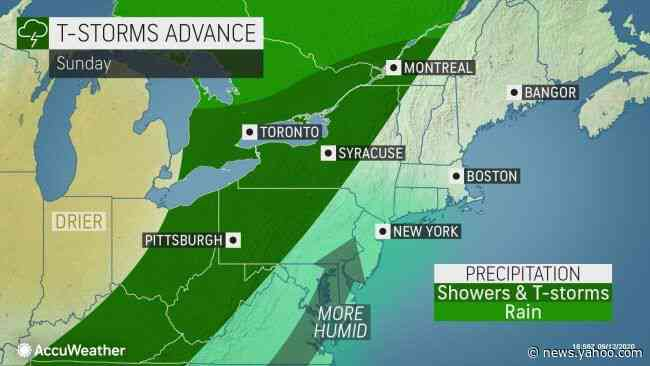 Sunday storms in northeastern US to usher in cooler air, frost potential