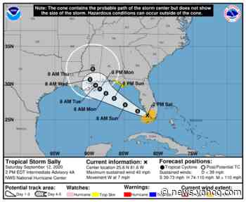 What is the path of Tropical Storm Sally? It could hit the U.S. coast as a hurricane