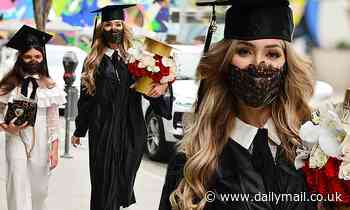 Farrah Abraham celebrates her film school graduation with daughter Sophia at Spago in Beverly Hills