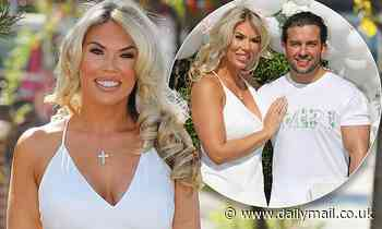 Frankie Sims displays her toned curves in a plunging white gown at her birthday party