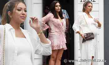 Pregnant Stassi Schroeder puts her baby bump on display in tight white dressat a pal's house in LA