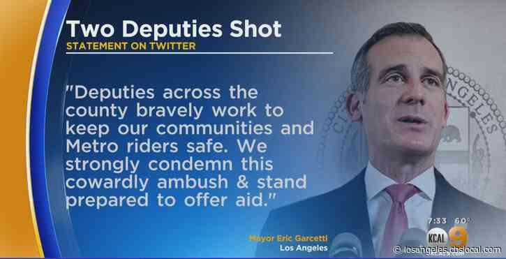 Leaders, Including Mayor Eric Garcetti, Strongly Condemn Ambush-Style Shooting Of 2 Deputies