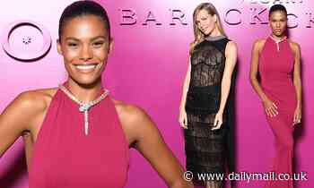 Vincent Cassel's wife Tina Kunakey exudes glamour in a fuchsia gown at a Bulgari show in Rome