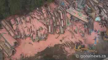 Drone video of huge train derailment near Hope B.C.