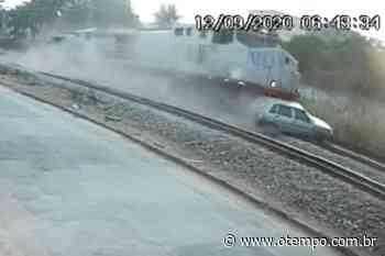 Vídeo mostra colisão impressionante entre trem e carro em Juatuba; assista - O Tempo