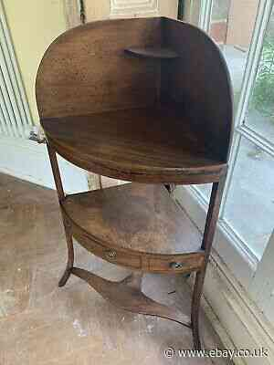 Georgian Regency Mahogany Corner Rounded Washstand Inlaid With Drawer & Shelves