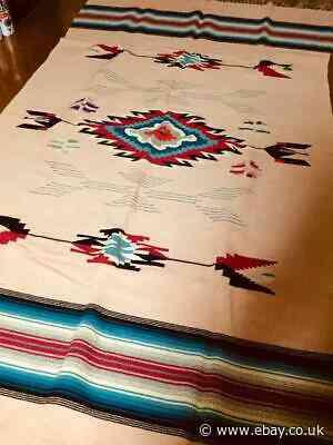 Navajo Chimayo Rug Blanket Large Format Interior Multicolor Vintage 40's Rare