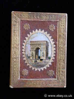 Antique French Grand Tour Reverse Painting Paper Box