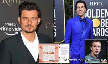 Orlando Bloom and Sacha Baron Cohen join Hollywood stars to 'freeze' their Instagram and Facebook