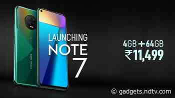 Infinix Note 7 With MediaTek Helio G70 SoC, 5,000mAh Battery Launched in India: Price, Specifications