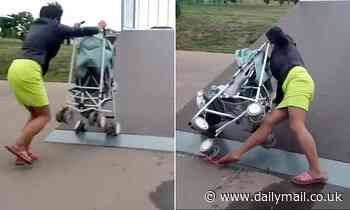 Moment 'drunk' mother tips her baby out of pushchair when she tries to push it up a skateboard ramp