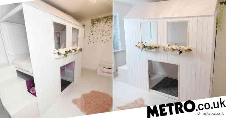 Mum saves £800 on daughter's dream princess bed by building it herself