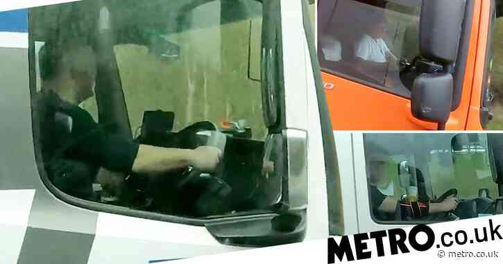 Lorry drivers caught texting, Facetiming and laughing along to films on motorway