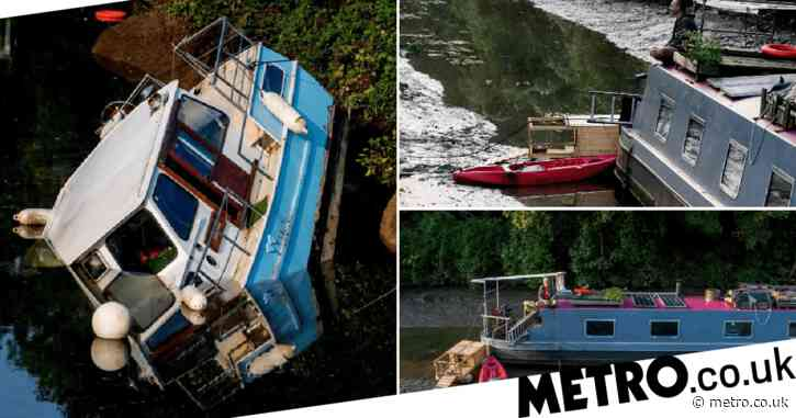 Boats stranded on canal bed after water is accidentally drained
