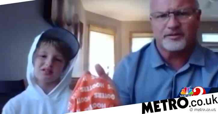 Outraged dad blasts school for making son, 11, remove Hooters face mask