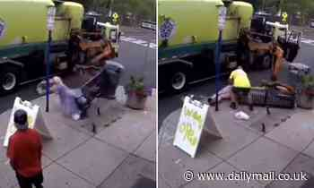 New York woman flung into the air by mechanical arm of garbage truck