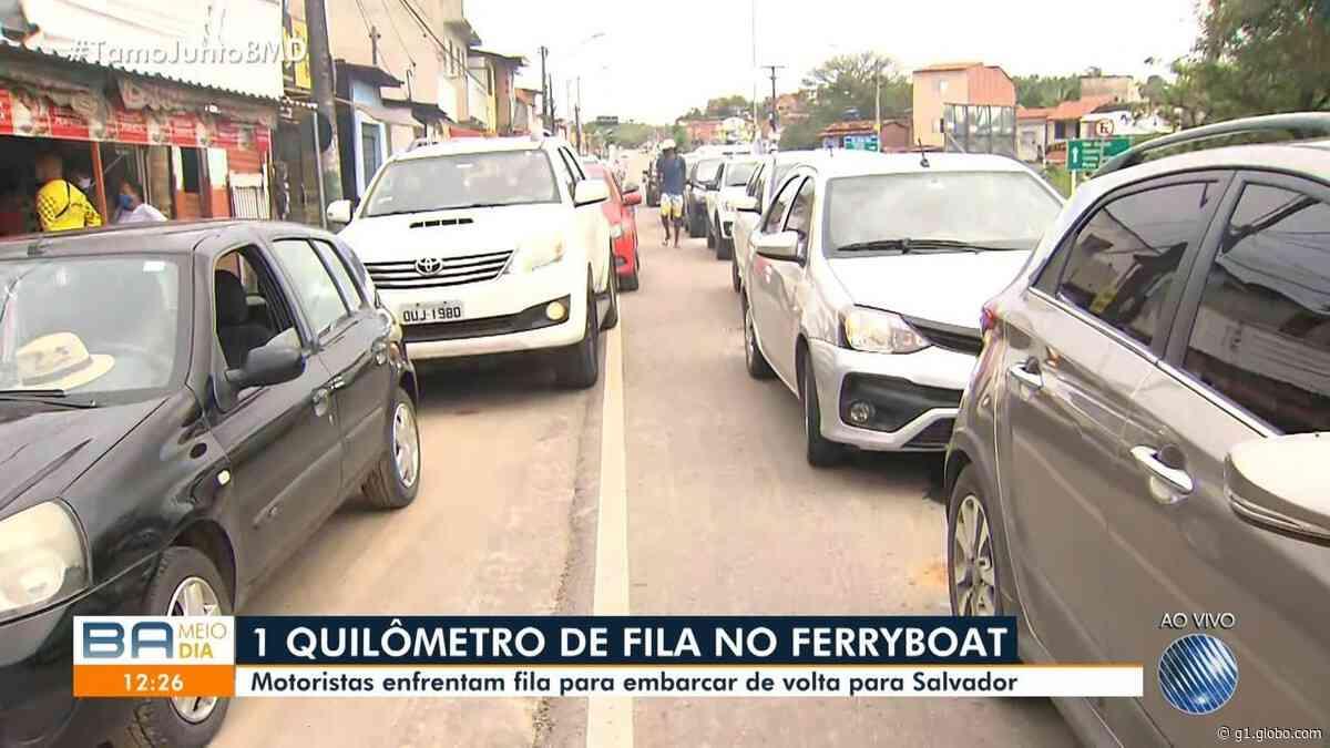 Terminal do ferry-boat em Itaparica tem fila de carros de 1 km na volta do feriado de 7 de Setembro - G1