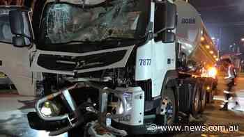 Milk tanker crashes into petrol station in Traralgon - NEWS.com.au
