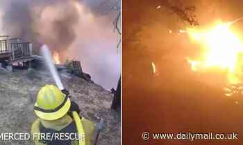 Video shows firefighters tackling California Creek Fire then going through wall of flames to get out