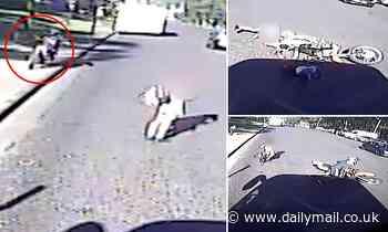 Shocking moment motorbike rider smashes into girl, 13, before fleeing the scene