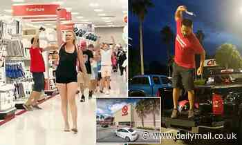 Protesters in MAGA t-shirts and hats march maskless through Target shouting 'take off your mask!'