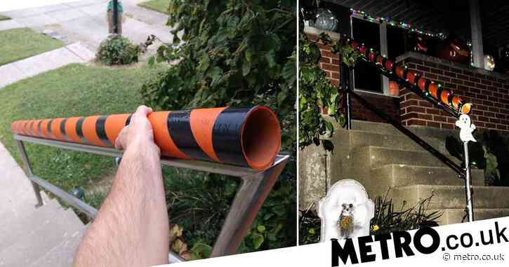 Man creates genius Halloween chute to allow kids to trick or treat socially distanced