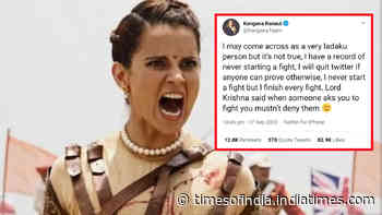 Kangana Ranaut puts out an open challenge, writes 'I may come across as a very ladaku person but it's not true. I will quit Twitter if anyone can prove otherwise'