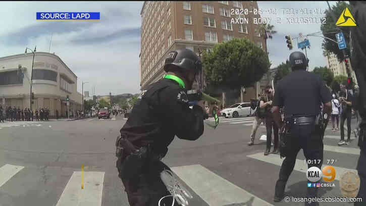LAPD Releases Video Of Officer Shooting Protester In Groin With Foam Projectile