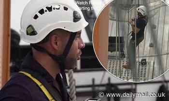 EXC: Alex Beresford scales mast of HMS Warriorin All Around Britain