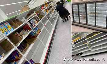 Coronavirus: shoppers post images of supermarket shelves stripped bare as delivery slots sell out
