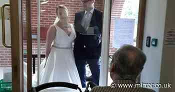Bride travels 200 miles to surprise grandad in her wedding dress
