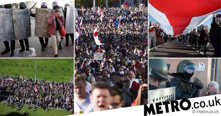 100,000 people defy soldiers with barbed wire as huge Belarus protests continue