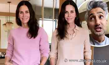 Courteney Cox models two Emmy viewing outfits on Instagram as Queer Eye's Tan asks fans to choose