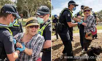 Confronting moment hysterical mother-of-four, 69, is arrested at Melbourne anti-lockdown protest