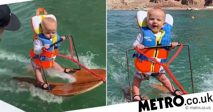 Six month-old baby boy becomes 'youngest person ever' to water ski