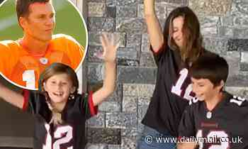 Gisele Bundchen and her kids root for husband Tom Brady in Tampa Bay Buccaneers jerseys - Daily Mail