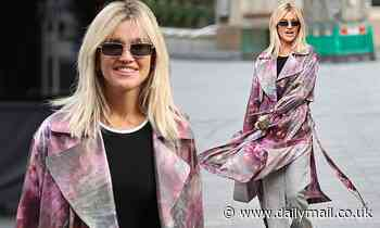 Ashley Roberts showcases her stellar sense of style in pink and purple coat with grey trousers