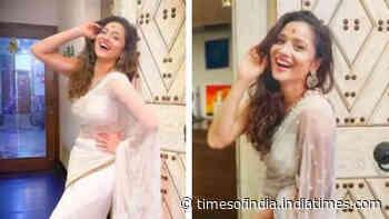 Ankita Lokhande stuns in a gorgeous white saree