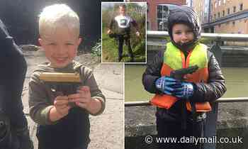 Three brothers aged 14, five, and four find GUNS in canal during magnet fishing trips