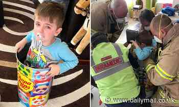 Four-year-old Melbourne boy gets stuck inside a Chupa Chup tin