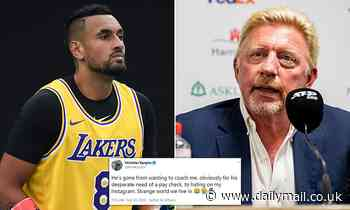 Nick Kyrgios reignites feud with Boris Becker calling the former tennis champion a 'little groupie'