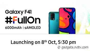 Samsung Galaxy F41 India Launch Set for October 8; Will Pack a 6,000mAh Battery