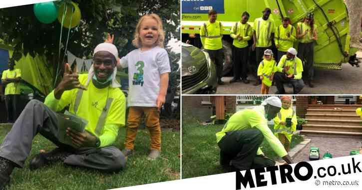 Bin men surprise their toddler best friend with garbage truck parade for his 3rd birthday