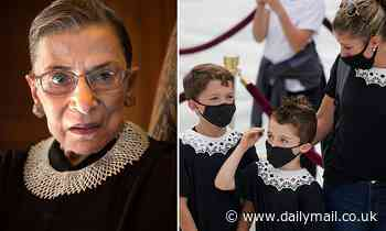Mom dresses kids in RBG's signature collar outside the Supreme Court