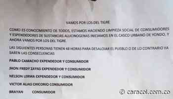 Investigan un panfleto que amenaza a 5 personas en Yondó, Antioquia - Caracol Radio